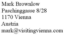 Contact details for VisitingVienna.com