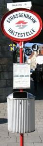 A Vienna tram stop sign
