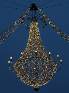 Chandelier lights on the Graben, Vienna