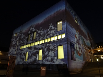 Light projection on the Leopold Museum, Vienna