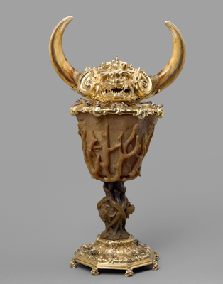 Rhino and warthog covered goblet