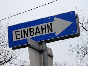 One-way street sign, Vienna