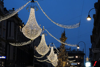 Christmas lights on the graben