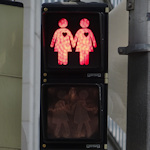 red light with couples design