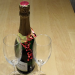 Sparkling wine and glasses
