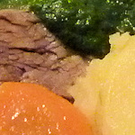 Beef, potatoes, spinach and carrot