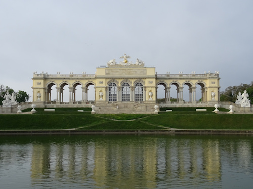 View of the Gloriette across the lake
