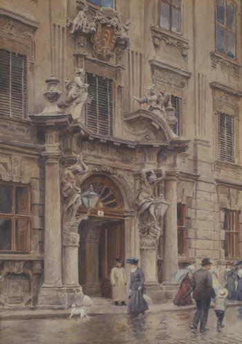 Portal of Palais Kinsky in watercolours