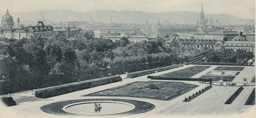 Historical view of Vienna from Belvedere gardens