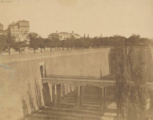 Vienna city walls in 1858