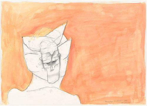 Lassnig self-portrait