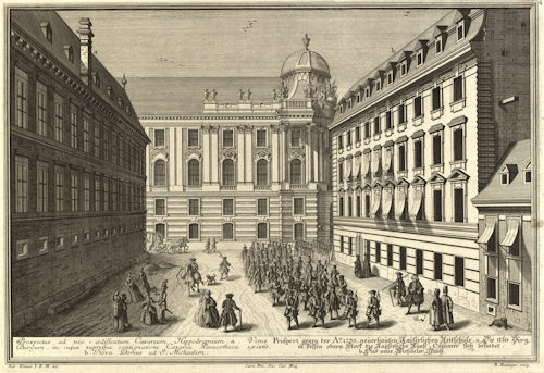 View of the new 1735 Imperial riding school; Wien Museum Inv.-Nr. 105765/108; excerpt reproduced under the terms of the CC0 licence
