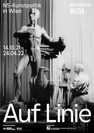 Exhibition poster, Vienna Falls In Line; photo by Julius Scherb; graphics by seite zwei